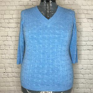 Avenue 3/4 Sleeve Cable knit Sweater-Blue